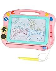 TONZE Pizarra Magnética Infantil con Sellos Pizarra Magnética Niños Tablero de Dibujo Magnético Juguetes Educativos Niños 3 Años(Rosa y Púrpura, Entregado al Azar)
