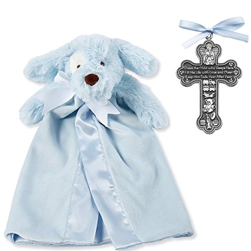 (Baptism Gifts for Boy | Pewter Bless The Child Crib Cross and Mud Pie Blue Puppy Lovie | Christening Gift for Boys from Godmother or Grandparents | Bundle of 2 Items)