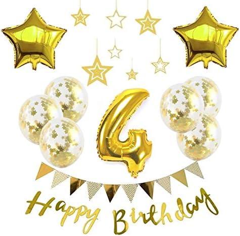 4歳 お子様誕生日パーティー HAPPY BIRTHDAY アルミニウム 数字(4)星バルーン(2個)バルーンゴールド 誕生日 飾り付け セット (js-xin04)