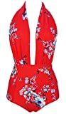 COCOSHIP Red & White & Jade Pink Garden Floral Retro One Piece Backless Bather Swimsuit Pin up Swimwear Beachwear M(FBA)