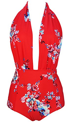 COCOSHIP Red & White & Jade Pink Garden Floral Retro One Piece Backless Bather Swimsuit Pin Up Swimwear Beachwear XXL(FBA) (Waist High Bathing Suit)