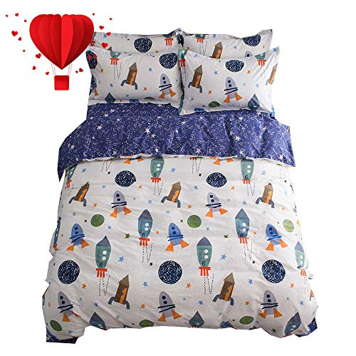 (BuLuTu Space Rocket Print Boys Duvet Cover Twin Cotton White Blue Universe Adventure Theme Star Kids Girls Bedding Sets,Astronomy 3 Pieces Boy Bedding with 2 Pillow Shams,No Comforter)