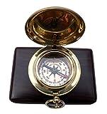 MAH Handmade Brass Push Button Engravable Direction Pocket Compass. C-3191