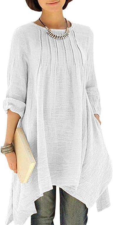 Mujer Vestido Elegante Algodón Y Lino Casual Manga Larga Cuello Redondo Midi Vestido Irregular Dobladillo Suelto Un Solo Pecho Swing Vestido Básico Tamaño Grande 8 Colorear Size S-5XL: Amazon.es: Ropa y accesorios