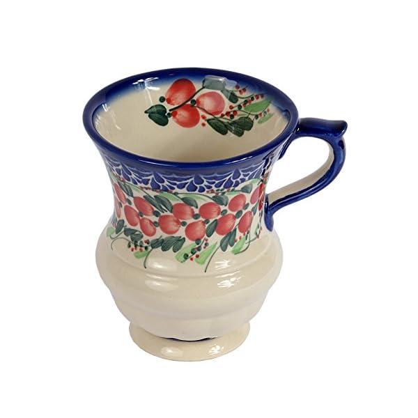 Traditional Polish Pottery, Handcrafted Ceramic Goblet Mug (300ml / 10.5 fl oz), Boleslawiec Style Pattern, Q.701.CRANBERRY