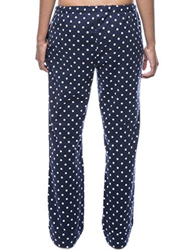 Twin Boat Pantalón Pijama de Franela de Algodón para Mujer Diva Lunares Azul Contrasto