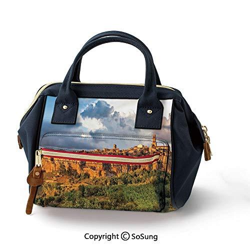Medieval Decor Portable Handbag,Fashion Oxford backpack for Girls & Adult,Cream Blue Green (Best Cuts Plenty Valley)