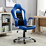 Belleze Gaming Office Chair Racing Bucket High Back Ergonomic Computer w/Flip Armrest, Blue