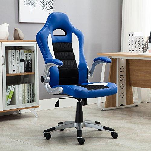 Belleze Gaming Office Chair Racing Bucket High Back Ergonomic Computer w/Flip Armrest, Blue by Belleze