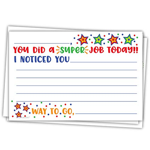 - Super Job - Teacher Notes to Parents - Classroom Incentive Cards to Send Home - Motivational Good Behavior Cards [Package of 50]