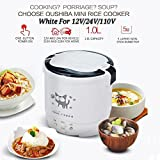 Hot Sales 3 Cups 1-2 People Steam Rice Cooker 12V/24V/110V Mini Electric Rice Cooker For Car/Truck/Home (12V White)