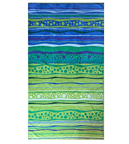 Terry Velour Towel - Espalma Over Sized Luxury Beach Towel, Large Size 70 Inch x 40 Inch Soft Velour and Reversible Absorbent Cotton Terry, Thick and Plush Jacquard Beach Towel, Blue/Green Pebble Beach Stripe