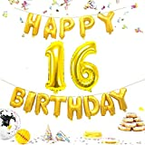 happy gas - KIYOOMY Number 16 Balloon Gold Giant Jumbo Foil Mylar Number Balloons Happy Birthday Foil Letter Balloons for Sweet 16 Birthday Party Decorations (Number Balloon 40'', Letter Balloon 16'', Gold)