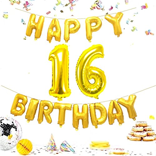 KIYOOMY Number 16 Balloon Gold Giant Jumbo Foil Mylar Number Balloons Happy Birthday Foil Letter Balloons for Sweet 16 Birthday Party Decorations (Number Balloon 40'', Letter Balloon 16'', -