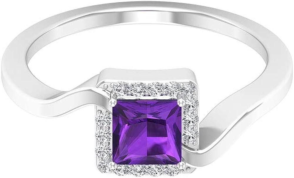 Anillo de oro amatista de corte princesa de 0,46 quilates, certificado SGL, anillo de caña en espiral, con halo de diamantes y piedras solitarias