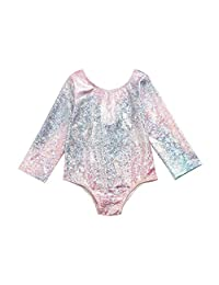 SolwDa Infant Baby Girls Girl Swimsuit One Piece Long Sleeve Sunscreen Gradient Color Swimwear Bikini One Piece Outfits