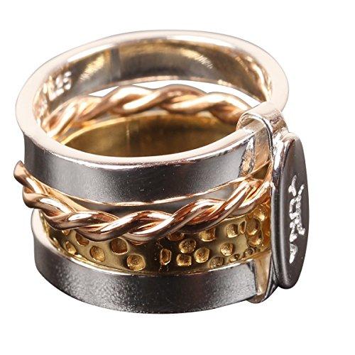 Bague multi anneaux 3 couleurs argent Walhalla II - Panajee