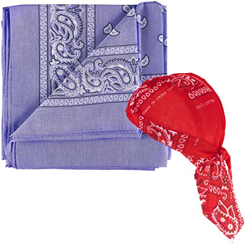 NJ Novelty - Lavender Paisley Bandanas One Dozen - Head Wrap Scarf with One Pre-tied Paisley Bandana Biker Du Rag Skull Cap -