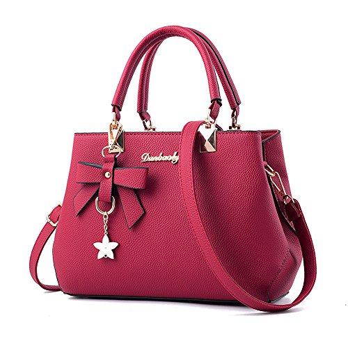 Shoppers Bolsos L Bandolera Baratos Niña Caqui para de Piel Hombro Grande ESAILQ y Mujer de Rojo r6wA4qYr