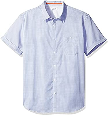 Calvin Klein Men's Mini Dobby Stripe Short Sleeve Button Down Shirt