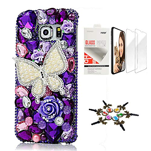 STENES Galaxy S8 Active Case - STYLISH - 3D Handmade [Sparkle Series] Bling Pearl Butterfly Rose Flowers Design Cover Compatible with Samsung Galaxy S8 Active with Screen Protector [2 Pack] - Purple