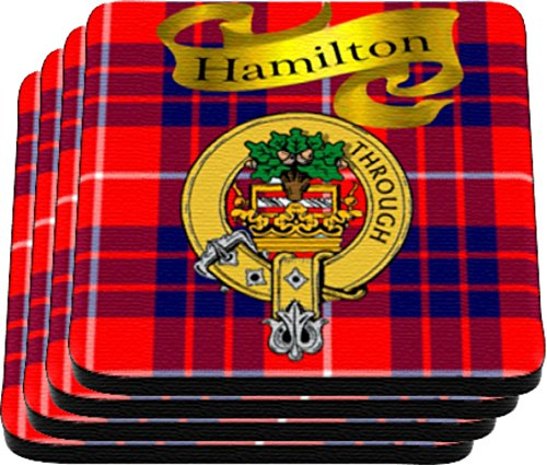 Scottish Clan Hamilton Made in USA on Cloth topped rubber Coaster Set of (Tartan Tea)