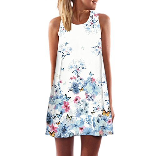Honghu Women's Sleeveless Butterfly Print Party Summer Dress (Butterfly Tube Dress)