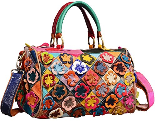 (Heshe Hobo Organizer Multi-color Stitching Splicing Shoulder Cross Body Top Handle Bags Handbags for Women with Flowers Summer Style (Colorful-2B4020))