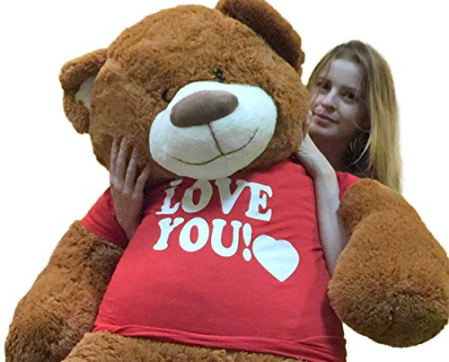 Big Plush 5 Foot Giant Teddy Bear Wearing I LOVE YOU T-shirt 60 Inches Soft Cinnamon Brown Color Huge Teddybear