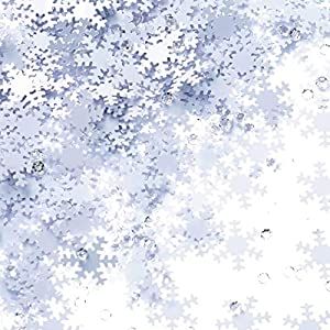 White Snowflakes Frozen Party Confetti – Winter Wonderland Birthday Baby Shower Wedding Foil Metallic Sequins Table Confetti Christmas Party Sprinkles Confetti Decorations, 60g