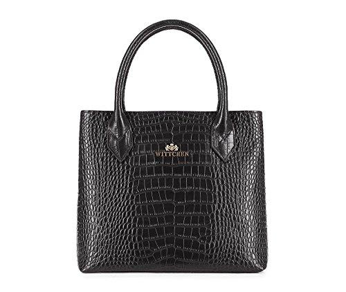 WITTCHEN Klassische Tasche | 36x25cm, Narbenleder | Passend für A4 Größe: Nein | Schwarz, Kollektion: Croco | 15-4-529-1
