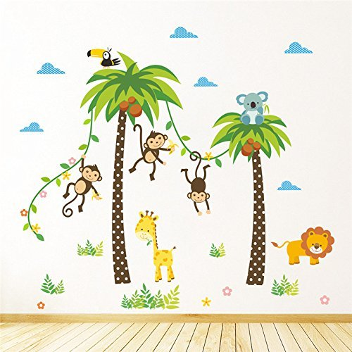 Coptrer Shop Monkey, giraffe, coconut, animal tree, wall sticker for decorating, nursery, children's room, safari, murals, art, diy cartoon, home stickers