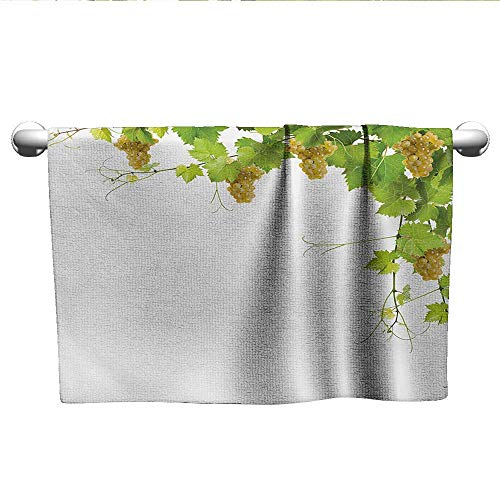 alisoso Vineyard,Small Bath Towels Collage of Wine Leaves on Bunch Farming Natural Rural Tasty Food Berry Image Absorbent and Super Soft Towels Green Yellow W 10