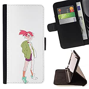 Momo Phone Case / Flip Funda de Cuero Case Cover - Muchacha deportiva rosa de la moda del pelo Dibujo del estilo del arte - Samsung Galaxy Core Prime
