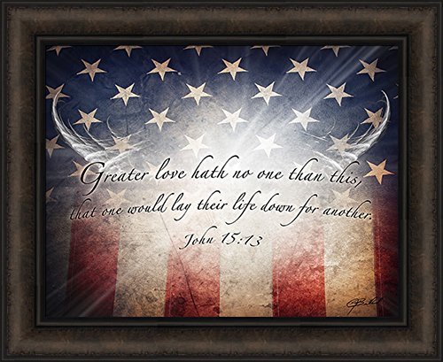 No Greater Love Flag by Jason Bullard 18x22 Military Patriotic Inspirational Americana Stars Stripes John 15:13 Framed Art Print Picture