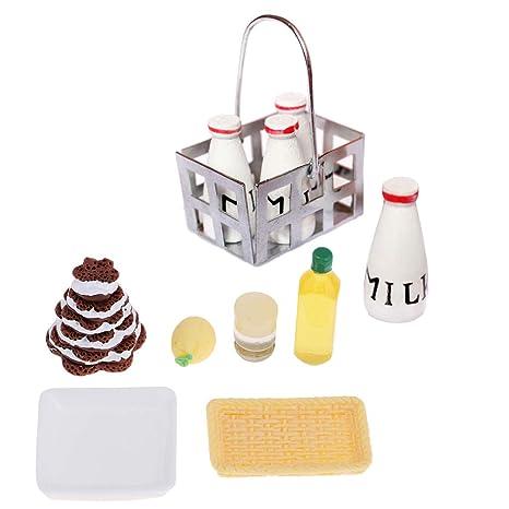 KESOTO Cocina de Mañana Comida Pastel Cesta Botellas de Leche Modelo para Casa de Muñecas en