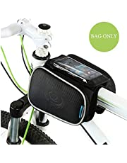 "WOTOW Cycling Frame Pannier bolso del teléfono celular, frente de bicicleta tubo superior pantalla táctil Saddle Bag Rack Mountain Road paquete de bicicletas doble bolsa de montaje bolsas del teléfono Fit Iphone 6/7, hasta 5 "" (5 inch cell phone bag)"