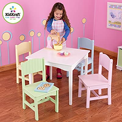 KidKraft Nantucket Kid's Wooden Table & 4 Chairs Set with Wainscoting Detail - Pastel: Toys & Games