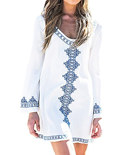 Bestyou® Women's Embroideried Swimsuit Cover up Tunic Shirts Beachwear (White), US XS-M