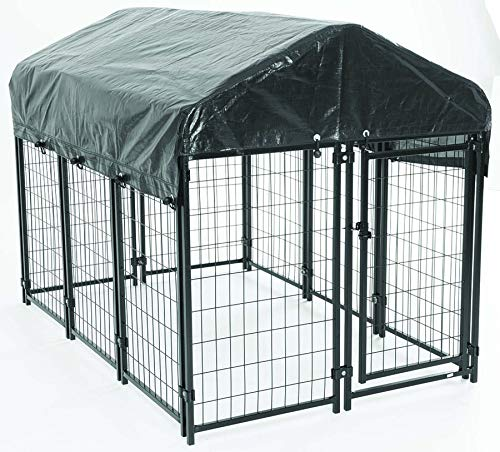 AKC Pet Resort 4ft x 6ft x 52in. High Heavy-Duty Dog Kennel for Deck Porch & Patio Cover Included with Free Training Guide (Medium)