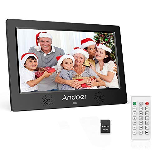 Andoer Digital Photo Picture Frame 10.1 Inch 1024X600 Resolution TFT-LED Screen Support Calendar/Clock/Alarm Clock/Photo/Music/Video with Remote Control 8GB Memory Card (Black)