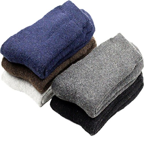 L04BABY Mens 5 Pairs Mix Color Winter Warm Super Thick Wool Socks Anti Snowstorm