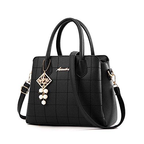 Fourre-tout Pour Femmes Nouvelle Mode Litchi Modèle épaule Sac Messager En Cuir Véritable Casual Vintage Noir B