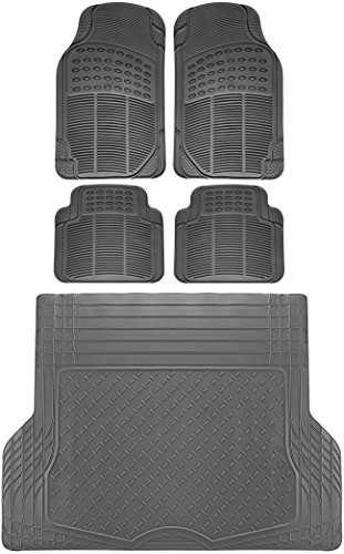 OxGord 5pc Full Set Ridged Rubber Floor Mats, Universal Fit Mat for SUVs Vans- Front Rear, Driver Passenger Seat, and Trunk Liner Gray