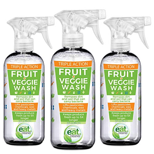 Eat Cleaner Fruit and Vegetable Wash Removes Harmful Residue Water Can't, Patented Veggie Wash Spray Extends Produce Life Up to 5X, Prevents Browning, Eliminates Waste, Vegan, Non GMO, 3-pack (12 (Best Vegetable Naturals)
