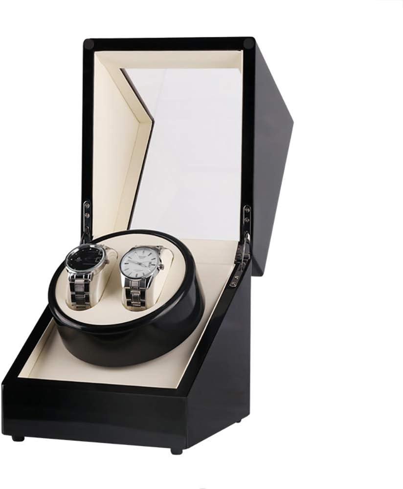 LOKKG Scatole Carica Orologi Automatico Nero per Rolex con Motore Silenzioso, Esterno in Legno massello e Morbidi Cuscini per Orologi White