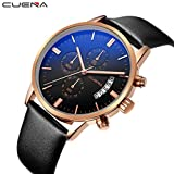 CUENA Men Watch,Mailat New CUENA Fashion Men Casual Checkers Faux Leather Quartz Analog Wrist Watch (A)