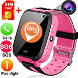 Kids Smart Watches Free SIM Card- 1.44'' Touch GPS Tracker Wrist Smart Watch Phone Boys Girls Camera Pedometer Wearable Smartwatch Bracelet Children Travel Camping Birthday