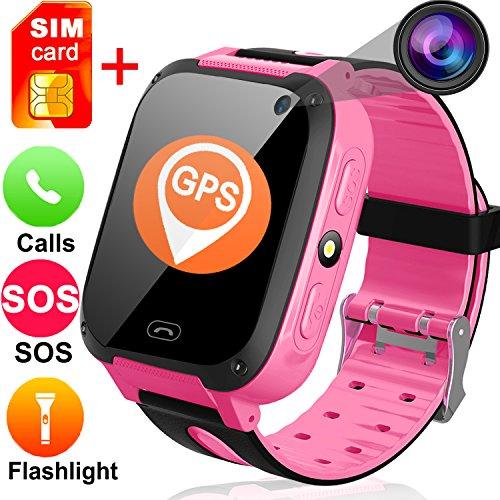 Kids Smart Watches Free SIM Card- 1.44'' Touch GPS Tracker Wrist Smart Watch Phone Boys Girls Camera Pedometer Wearable Smartwatch Bracelet Children Travel Camping Birthday by TURNMEON