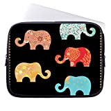 Ojngdafs Floral Elephants Black Neoprene Laptop Sleeve 12 Inch Macbook Air Case Macbook Pro Sleeve and 10 Inch Laptop Bag Cover